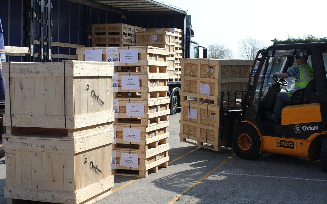 Crates of aid supplies - Cyclone Idai shipment