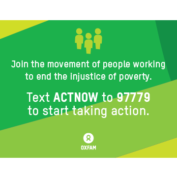 """Oxfam Take Action sign (8.5"""" x 11"""")"""