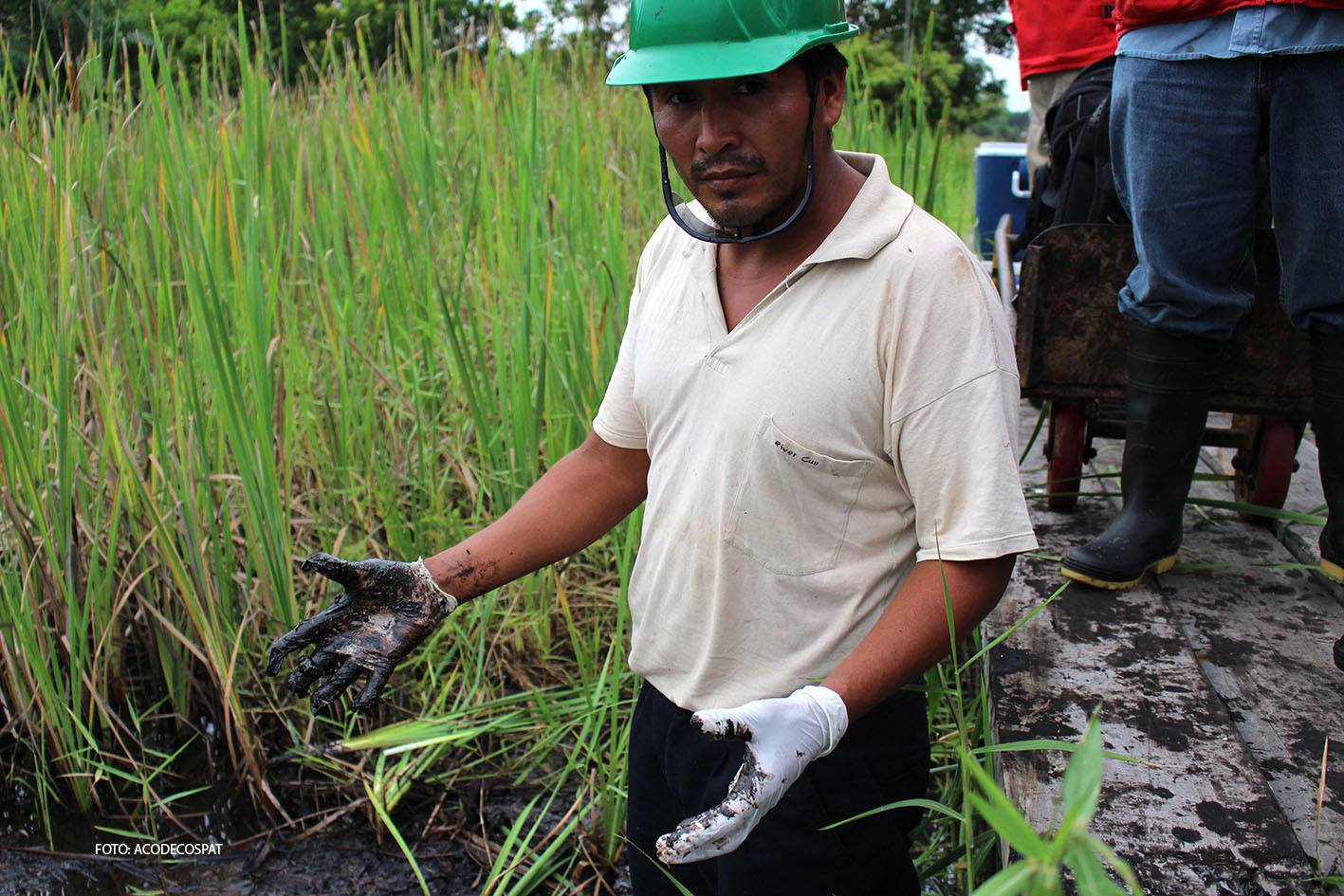 Ander Ordoñez, a monitor with the Peruvian Assessment and Environmental Control Agency, examines the impact of oil spills inside the Marañon river basin in 2013.