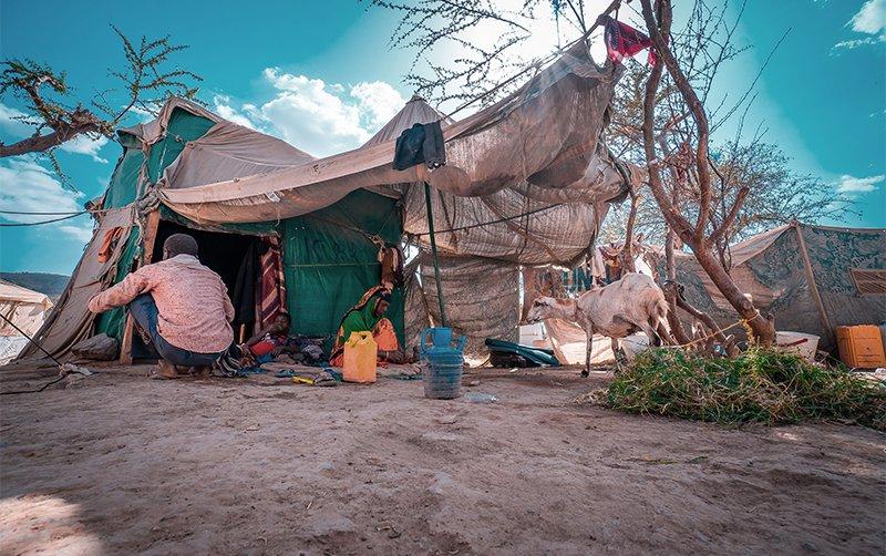 Yemen displaced people in makeshift tent