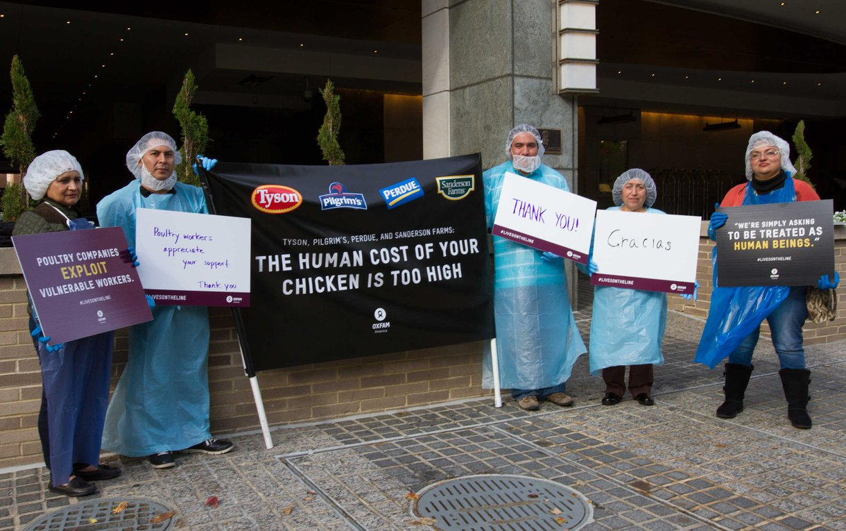 Poultry workers rallied outside the annual meeting of the National Chicken Council in Washington, DC last November. While the workers held signs directed at poultry executives, they also made their own signs to express appreciation to people who'd taken action to advocate for workers' rights.