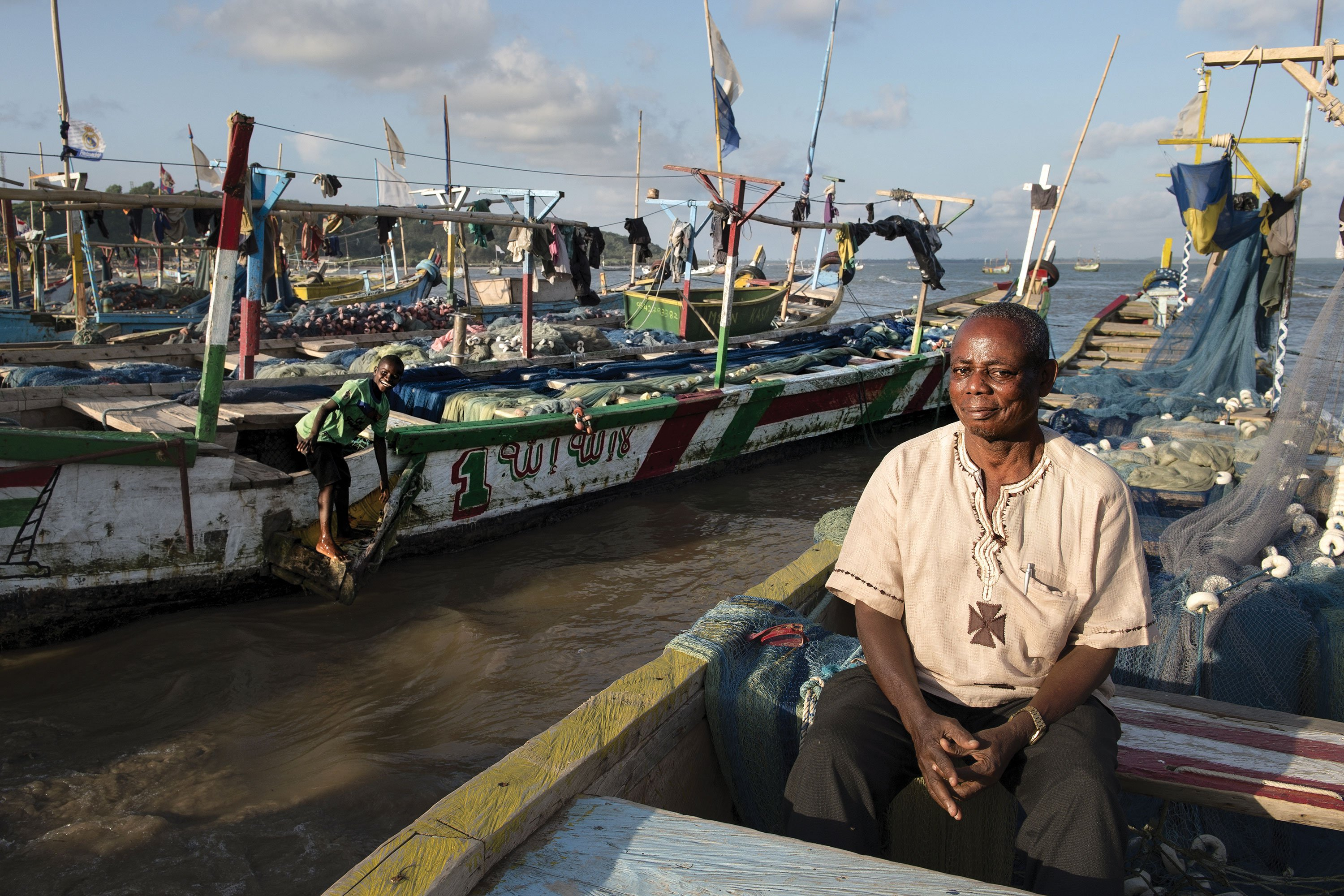 Kojo Kondua is the chief of the Abuesi fishing village in Ghana. Members of his community participated in a campaign pushing the government to allocate oil and gas revenues to programs that assist small-scale fishing families and farmers, which are the backbone of Ghana's economy.
