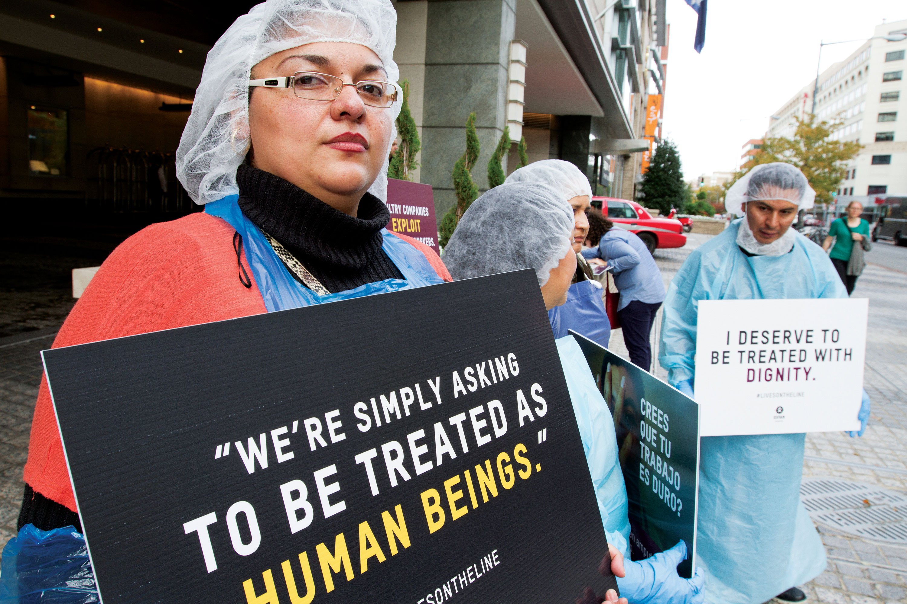 Poultry workers from a Tyson plant in Arkansas traveled to Washington, DC, for a rally outside the annual conference of the National Chicken Council after release of Lives on the Line.
