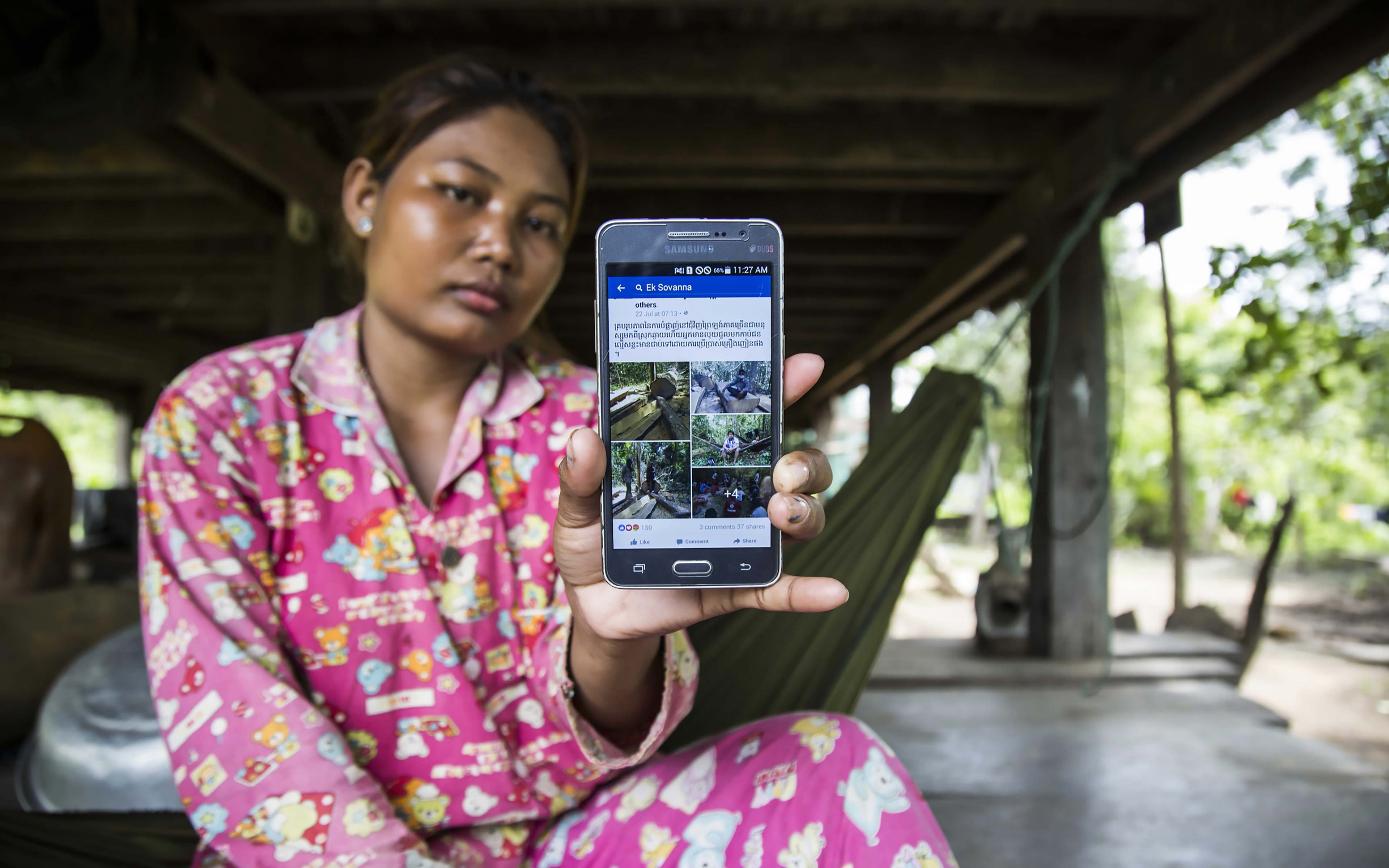 """Phorn Sopheak, 26, a well-known environmental activist in Cambodia's Kratie province, is an active Facebook user. """"Facebook is a good medium; I receive a lot of news about social issues and developments on Facebook. I always share stories with other people and networks that protect the river and forest."""""""