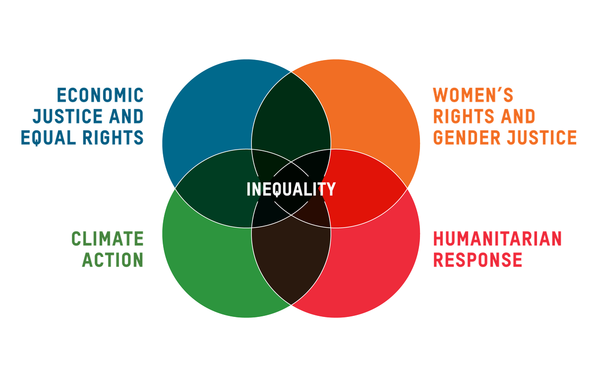 A graphic showing inequality is at the intersection of all areas of our work.