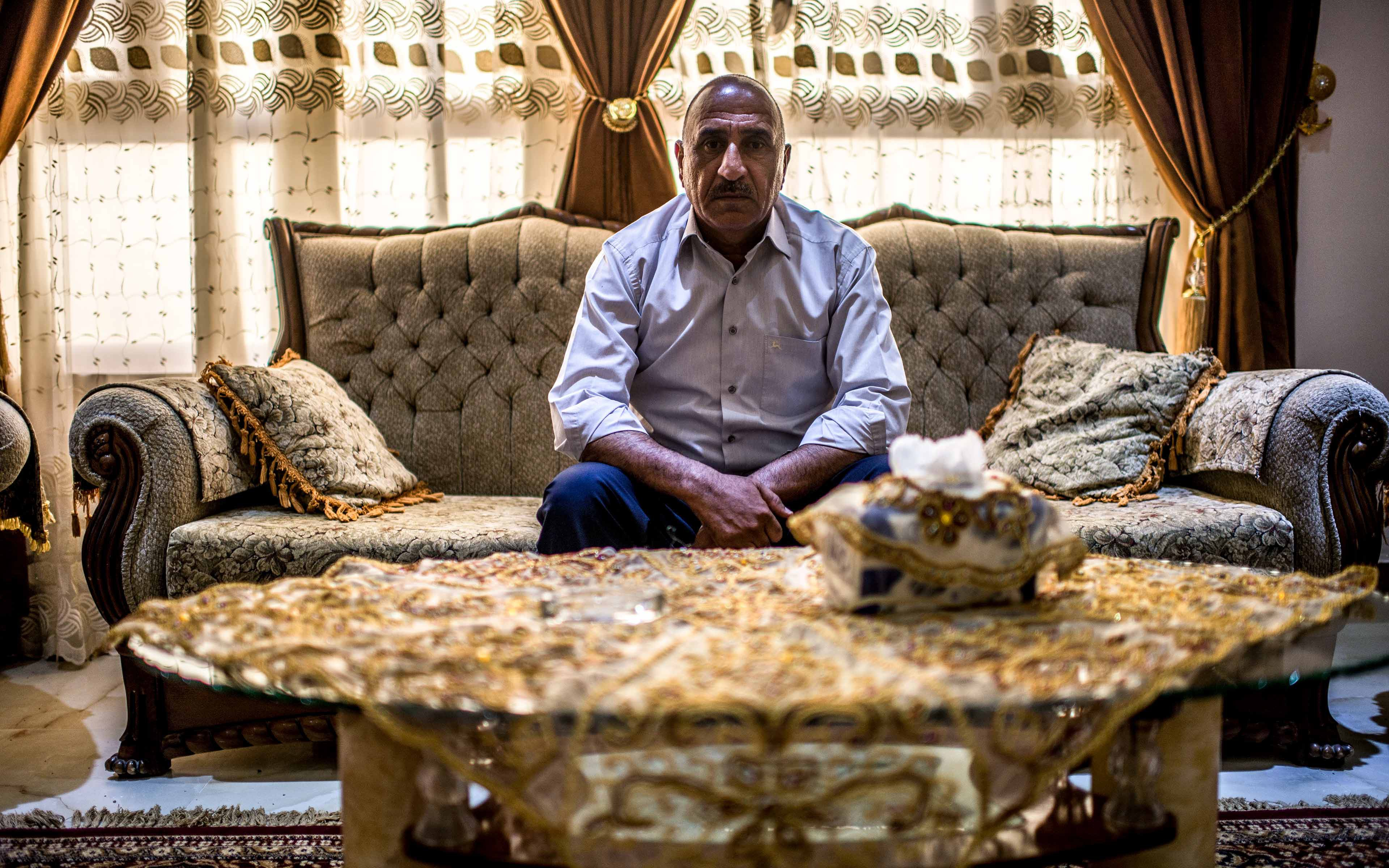 """Ahmed Thayer Ali, who is 49 and the mayor of the Iraqi town of Saadiya, has survived 11 assassination attempts over the last few years. """"When Oxfam is thinking of providing a public service, I urge them to target the poor people and families most in need, not the officials,"""" he said."""