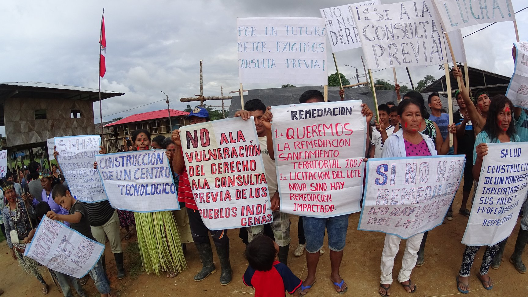 The indigenous Kichwa community participates in a peaceful protest in October 2017 demanding the right to be consulted regarding extractive activities in their communities.