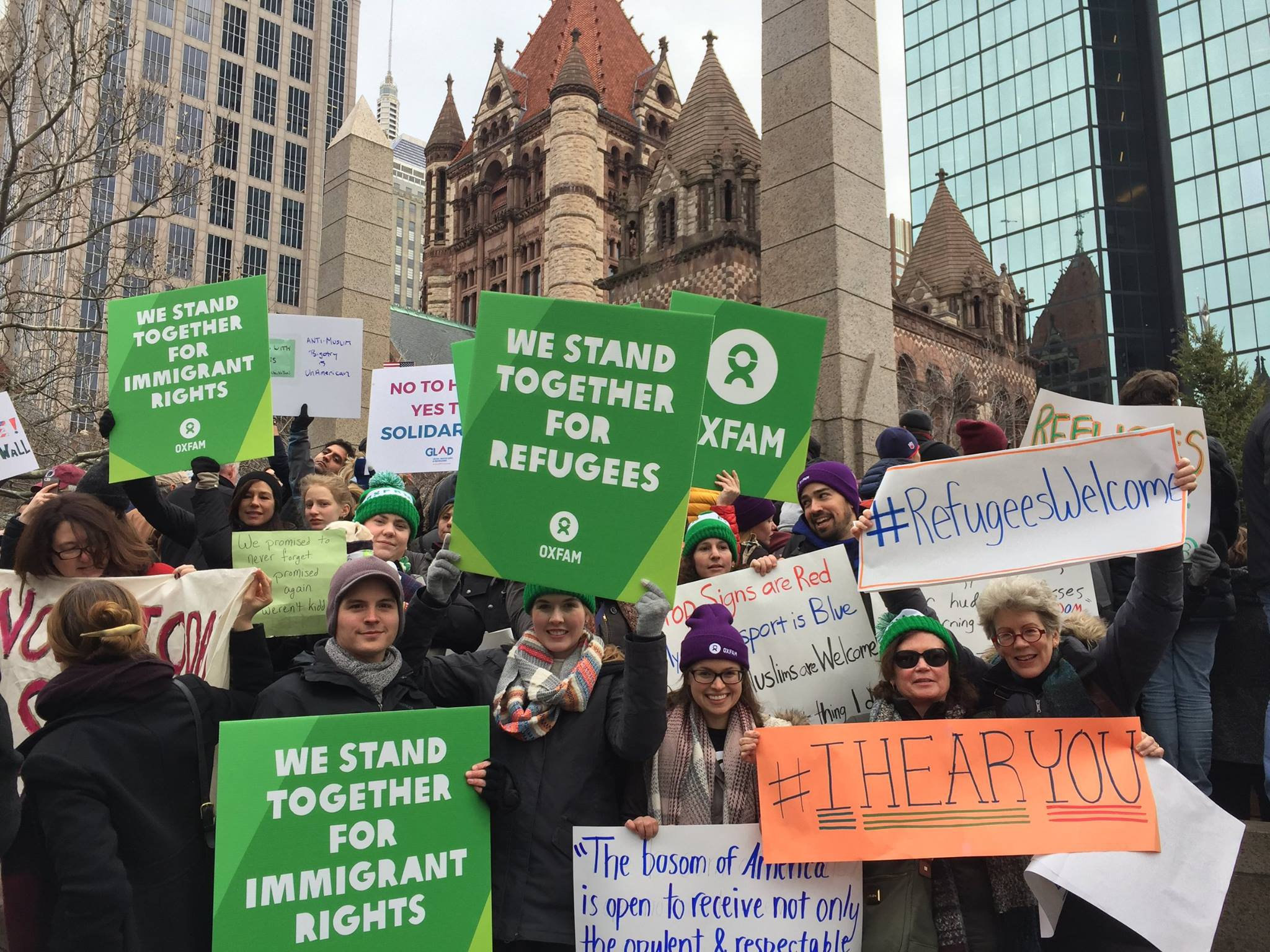 Activists protesting the executive order barring refugees from the US on Sunday, January 29 in Boston's Copley Square.